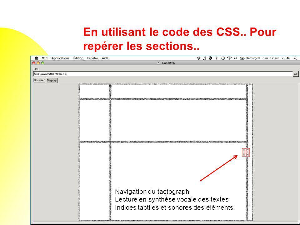 En utilisant le code des CSS.. Pour repérer les sections.. Navigation du tactograph Lecture en synthèse vocale des textes Indices tactiles et sonores
