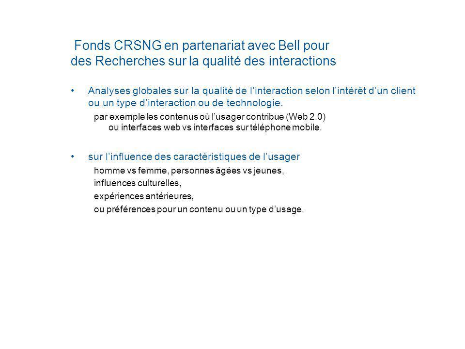 Fonds CRSNG en partenariat avec Bell pour des Recherches sur la qualité des interactions Analyses globales sur la qualité de linteraction selon lintérêt dun client ou un type dinteraction ou de technologie.