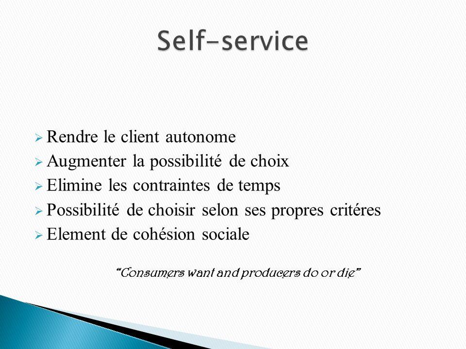 Rendre le client autonome Augmenter la possibilité de choix Elimine les contraintes de temps Possibilité de choisir selon ses propres critéres Element de cohésion sociale Consumers want and producers do or die