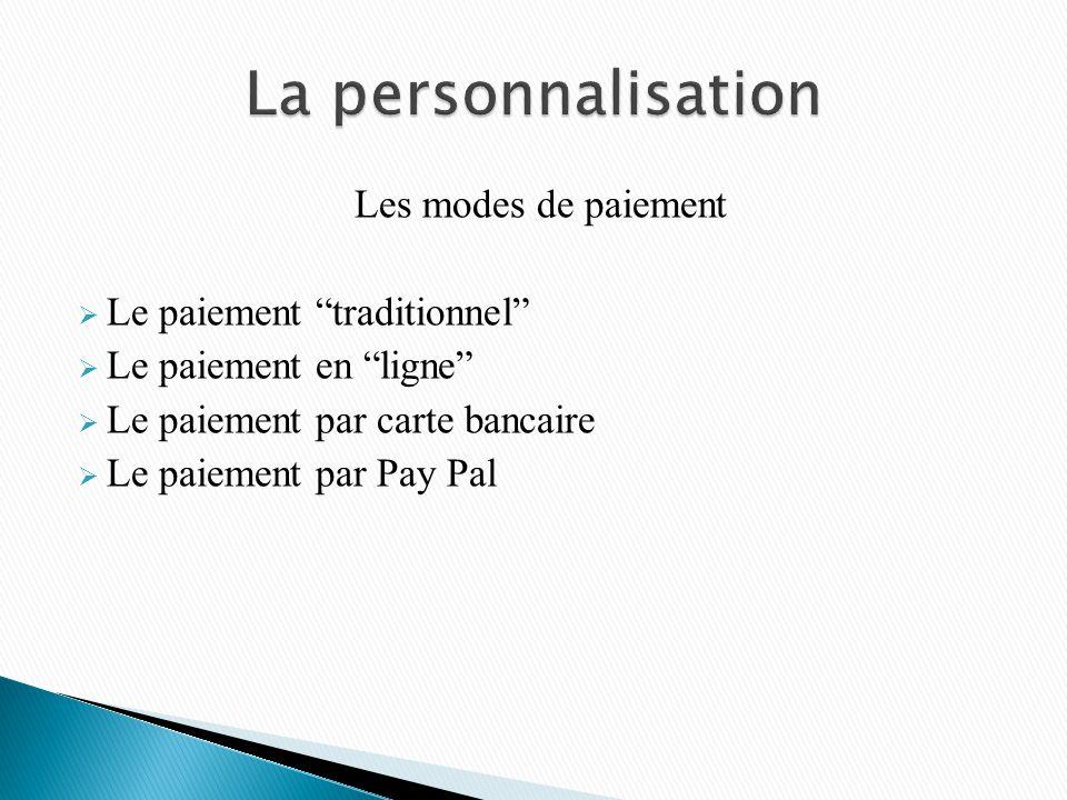 Les modes de paiement Le paiement traditionnel Le paiement en ligne Le paiement par carte bancaire Le paiement par Pay Pal