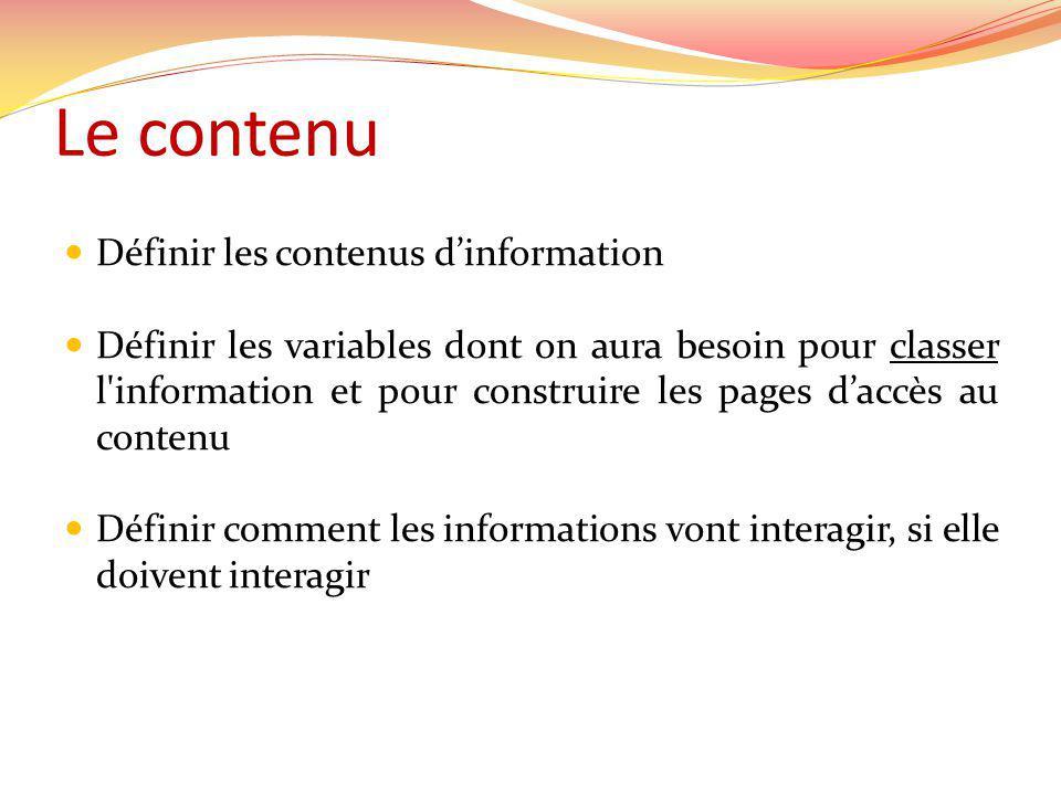 Le contenu Définir les contenus dinformation Définir les variables dont on aura besoin pour classer l information et pour construire les pages daccès au contenu Définir comment les informations vont interagir, si elle doivent interagir