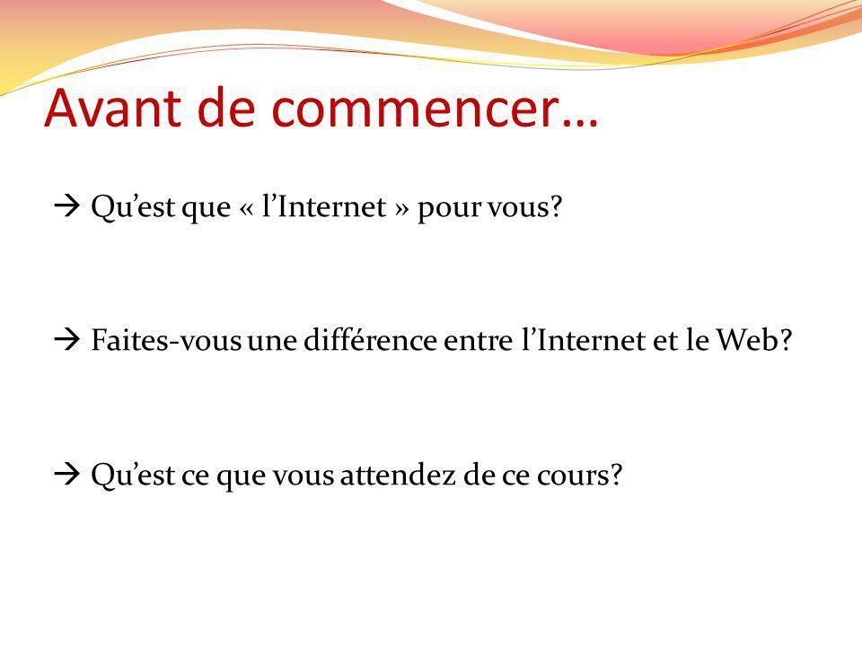 Avant de commencer… Quest que « lInternet » pour vous.