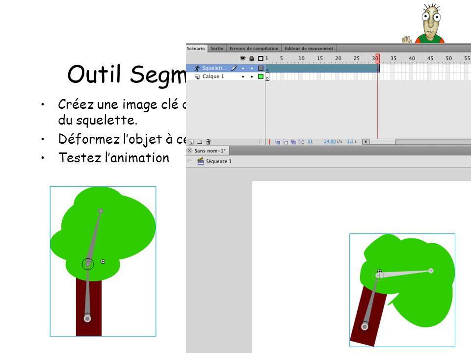 Outil Segment (Squelette) Créez une image clé dans le calque du squelette.