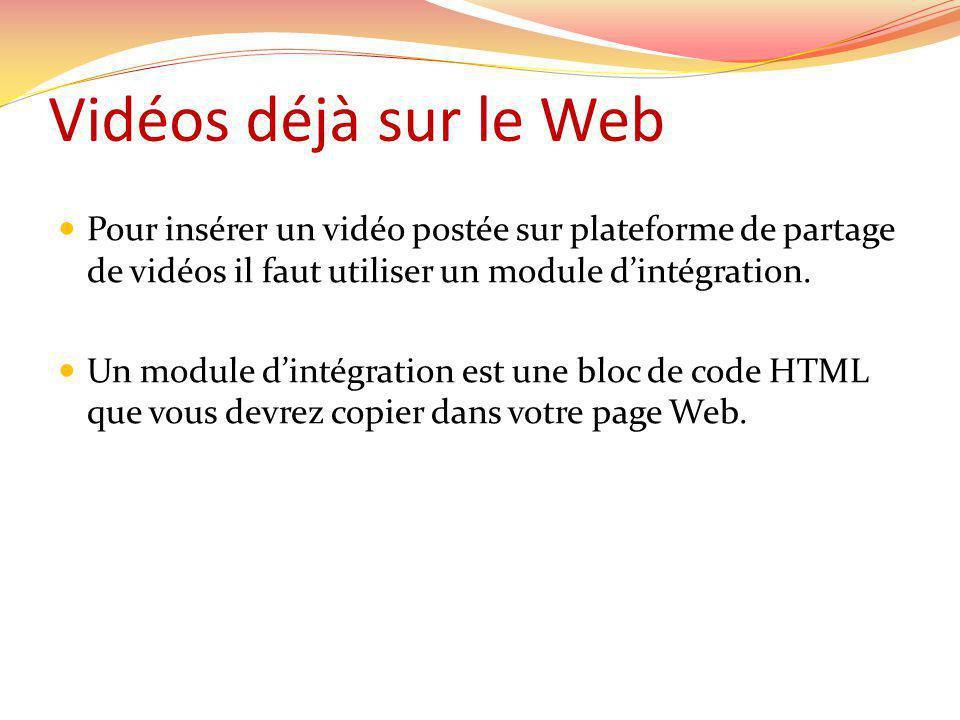 Vidéos déjà sur le Web Pour insérer un vidéo postée sur plateforme de partage de vidéos il faut utiliser un module dintégration. Un module dintégratio