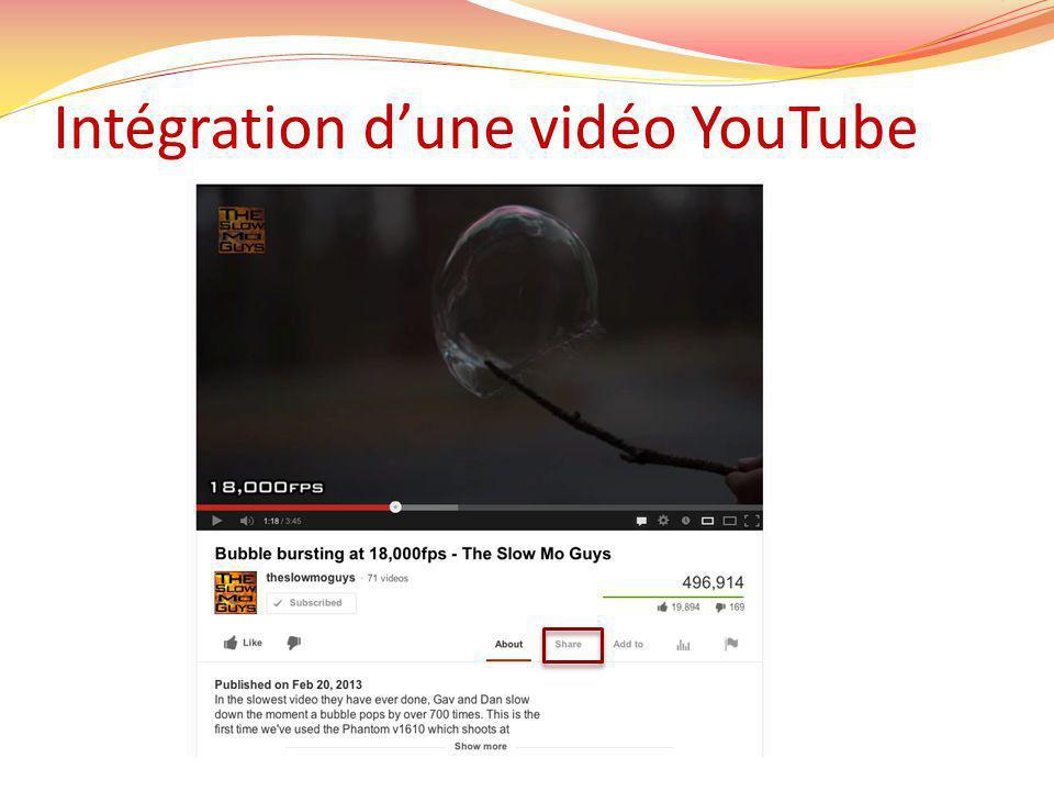 Intégration dune vidéo YouTube