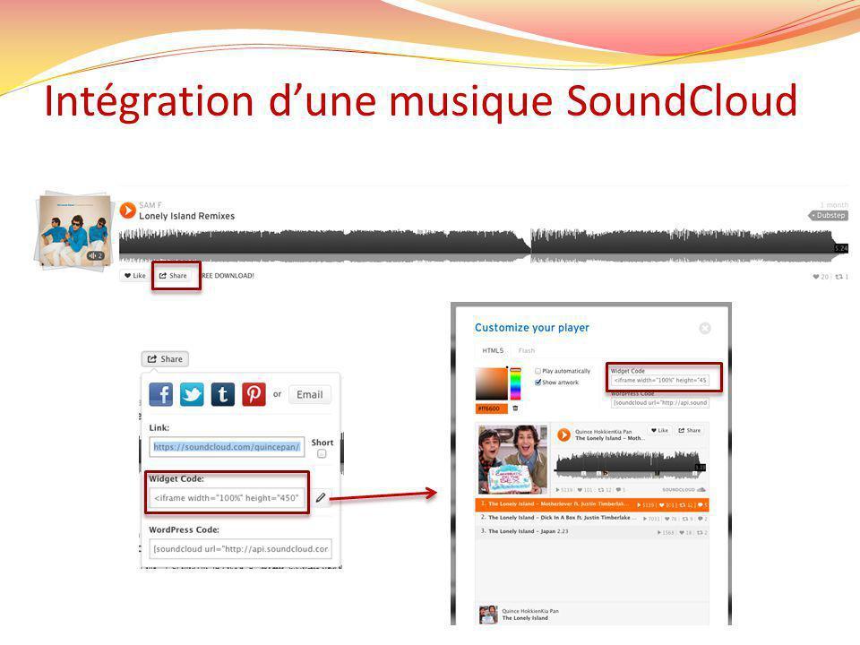 Intégration dune musique SoundCloud