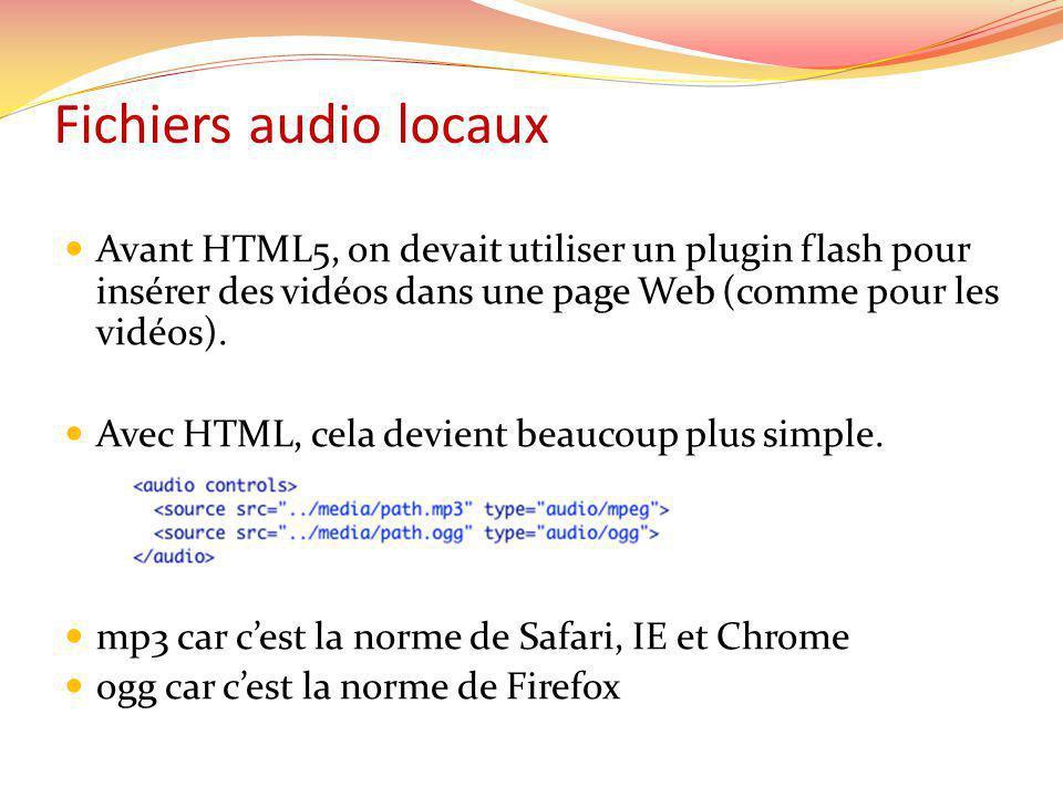 Fichiers audio locaux Avant HTML5, on devait utiliser un plugin flash pour insérer des vidéos dans une page Web (comme pour les vidéos).