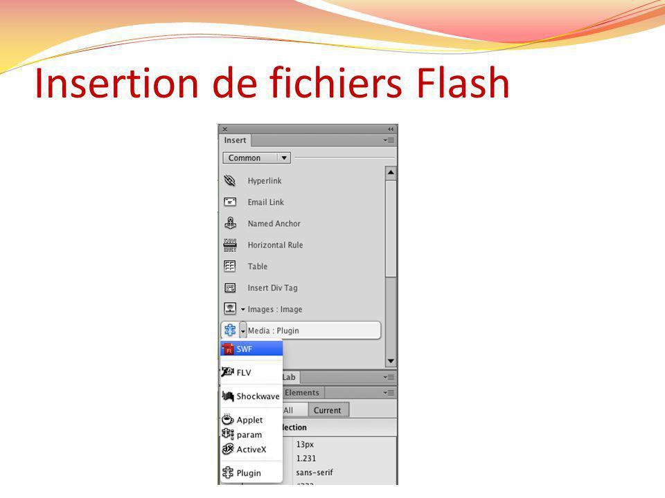 Insertion de fichiers Flash