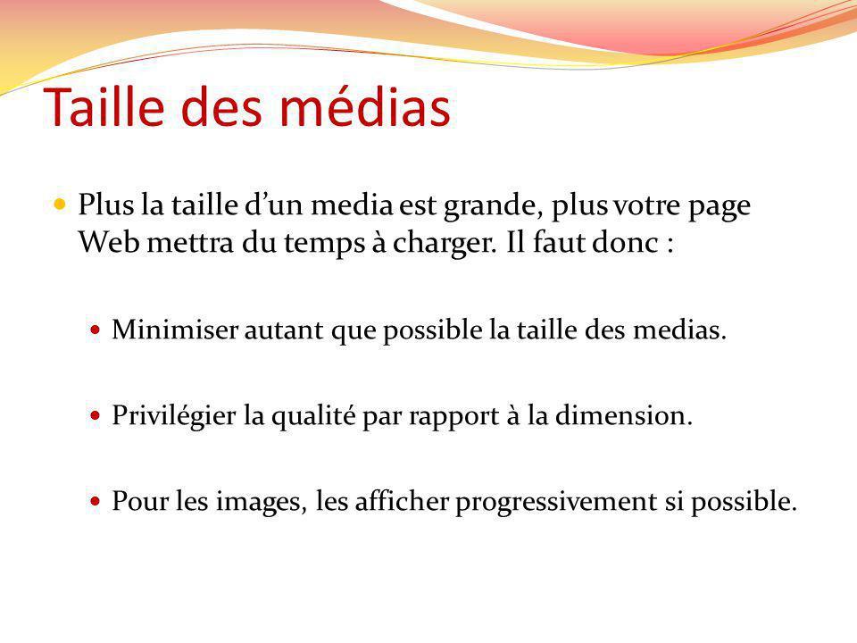 Taille des médias Plus la taille dun media est grande, plus votre page Web mettra du temps à charger.