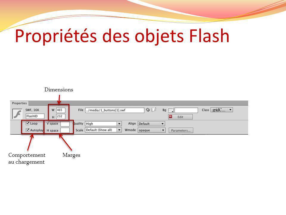 Propriétés des objets Flash Dimensions MargesComportement au chargement