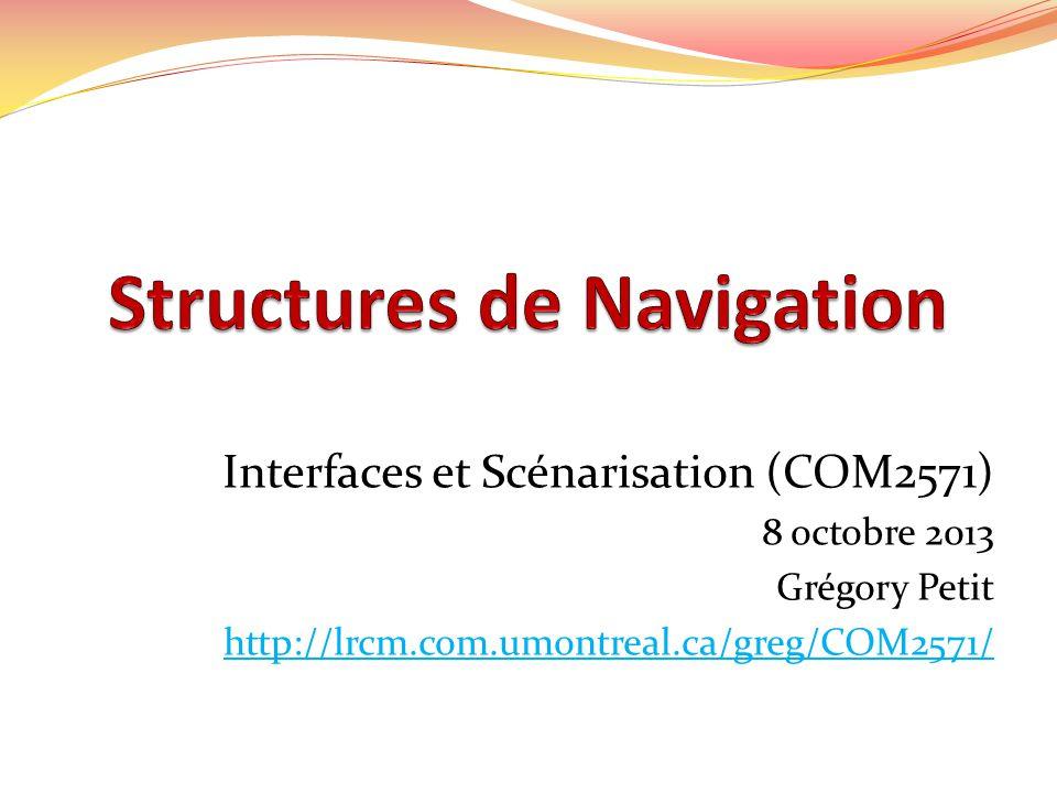 Interfaces et Scénarisation (COM2571) 8 octobre 2013 Grégory Petit http://lrcm.com.umontreal.ca/greg/COM2571/