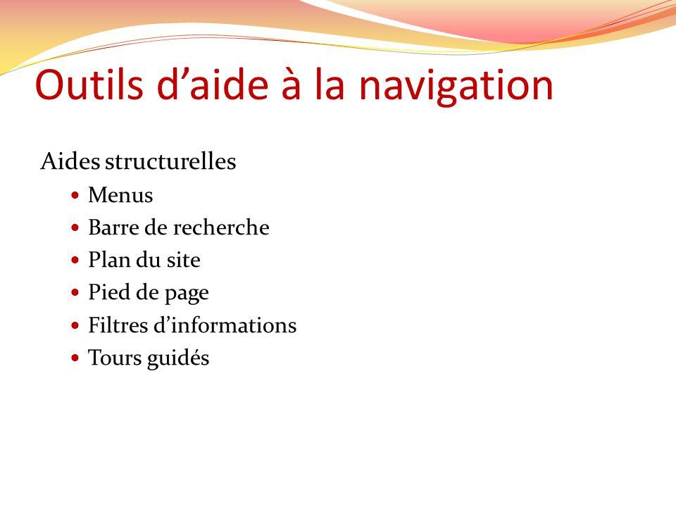 Aides structurelles Menus Barre de recherche Plan du site Pied de page Filtres dinformations Tours guidés