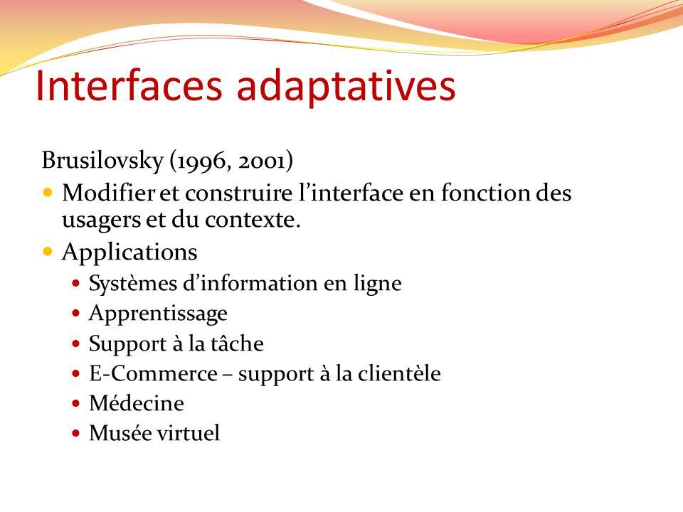 Interfaces adaptatives Brusilovsky (1996, 2001) Modifier et construire linterface en fonction des usagers et du contexte. Applications Systèmes dinfor