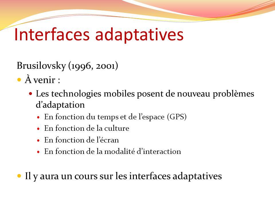 Interfaces adaptatives Brusilovsky (1996, 2001) À venir : Les technologies mobiles posent de nouveau problèmes dadaptation En fonction du temps et de