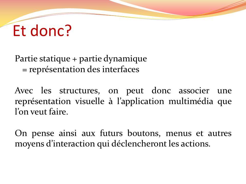 Et donc? Partie statique + partie dynamique = représentation des interfaces Avec les structures, on peut donc associer une représentation visuelle à l