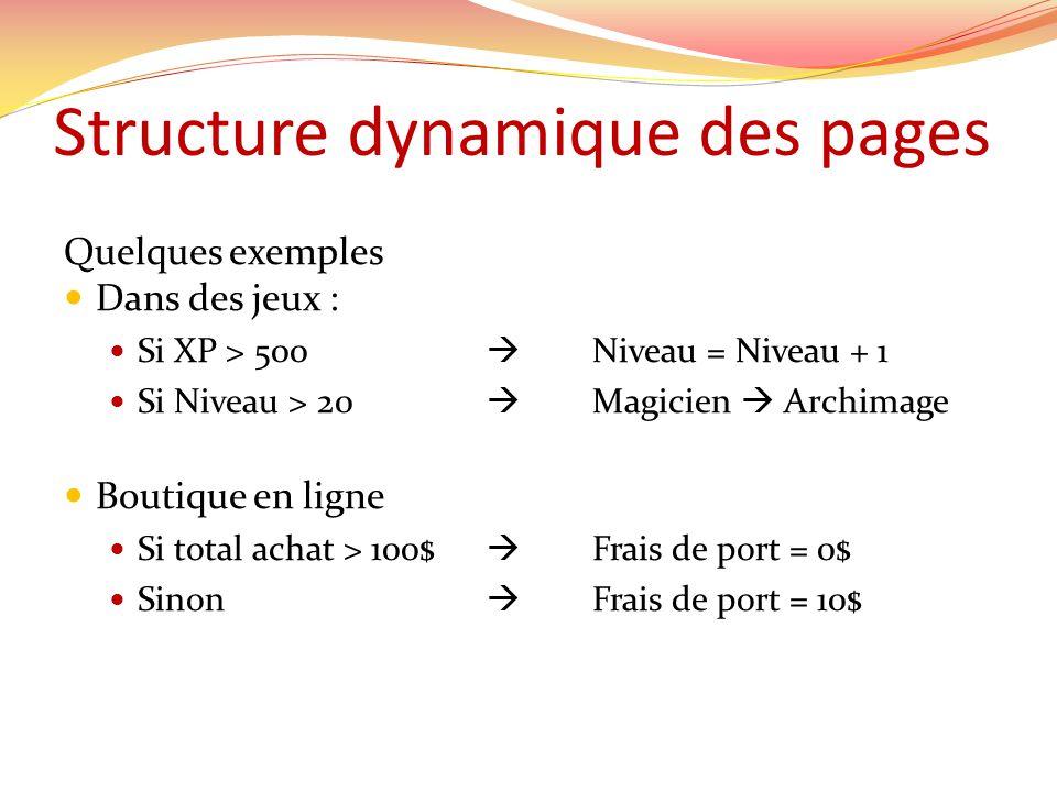 Structure dynamique des pages Quelques exemples Dans des jeux : Si XP > 500 Niveau = Niveau + 1 Si Niveau > 20 Magicien Archimage Boutique en ligne Si