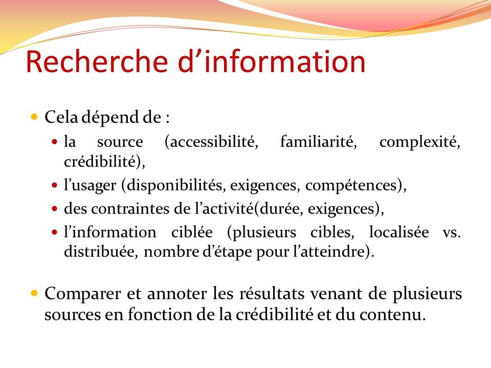 Recherche dinformation Cela dépend de : la source (accessibilité, familiarité, complexité, crédibilité), lusager (disponibilités, exigences, compétenc