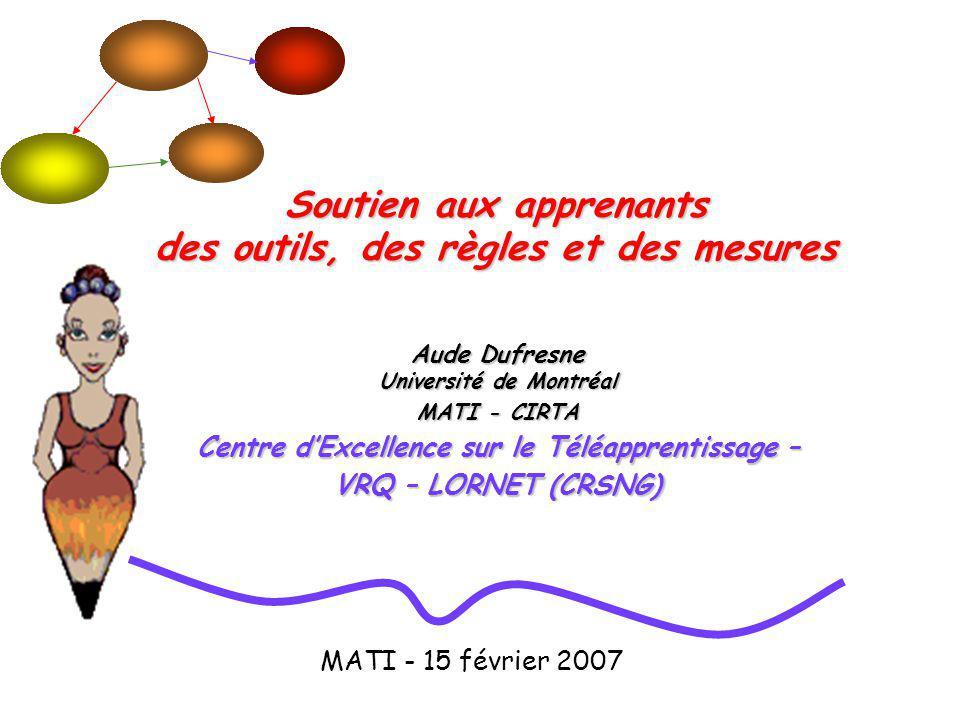 Aude Dufresne Université de Montréal MATI - CIRTA Centre dExcellence sur le Téléapprentissage – VRQ – LORNET (CRSNG) Soutien aux apprenants des outils, des règles et des mesures MATI - 15 février 2007