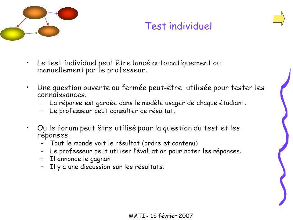 MATI - 15 février 2007 Test individuel Le test individuel peut être lancé automatiquement ou manuellement par le professeur.