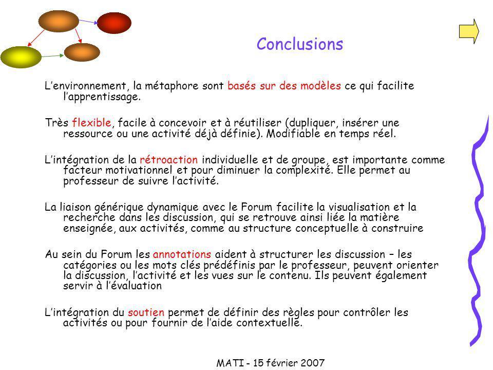 MATI - 15 février 2007 Conclusions Lenvironnement, la métaphore sont basés sur des modèles ce qui facilite lapprentissage.