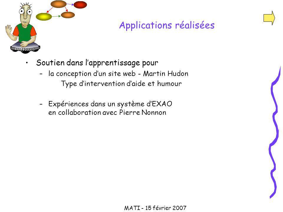 MATI - 15 février 2007 Applications réalisées Soutien dans lapprentissage pour –la conception dun site web - Martin Hudon Type dintervention daide et humour –Expériences dans un système dEXAO en collaboration avec Pierre Nonnon