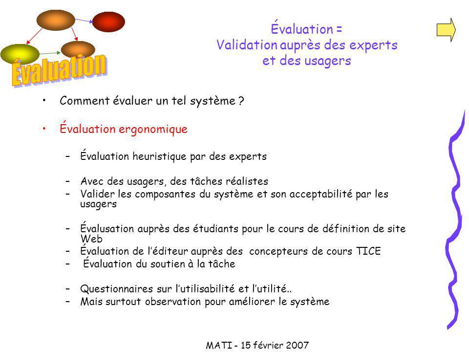 MATI - 15 février 2007 Évaluation = Validation auprès des experts et des usagers Comment évaluer un tel système .