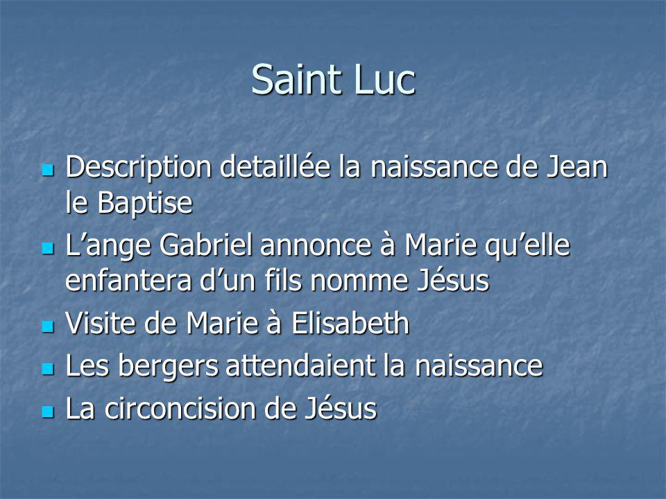 Saint Luc Description detaillée la naissance de Jean le Baptise Description detaillée la naissance de Jean le Baptise Lange Gabriel annonce à Marie qu