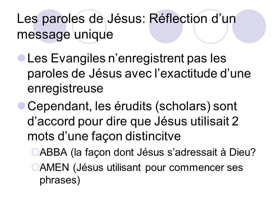 Les paroles de Jésus: Réflection dun message unique Les Evangiles nenregistrent pas les paroles de Jésus avec lexactitude dune enregistreuse Cependant