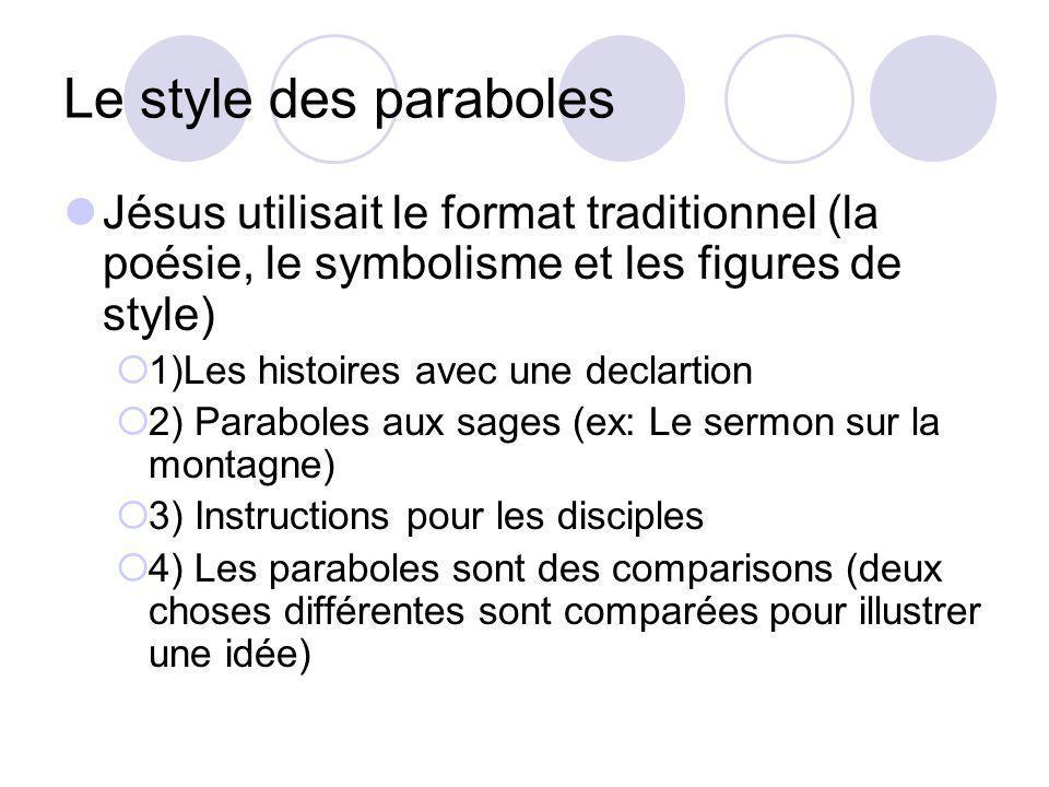 Le style des paraboles Jésus utilisait le format traditionnel (la poésie, le symbolisme et les figures de style) 1)Les histoires avec une declartion 2