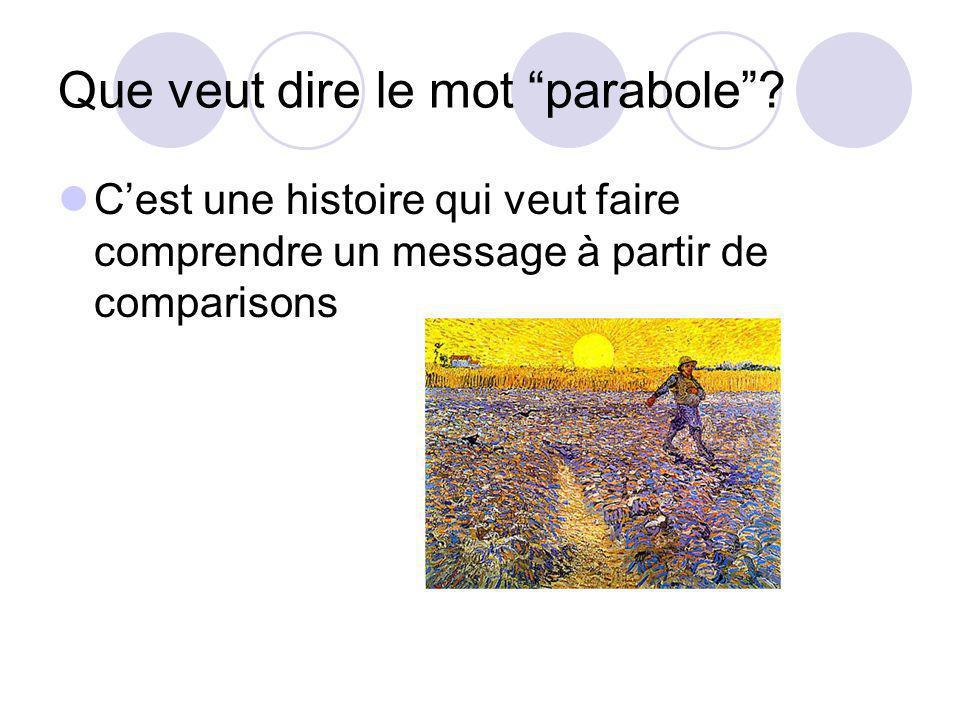 Que veut dire le mot parabole? Cest une histoire qui veut faire comprendre un message à partir de comparisons