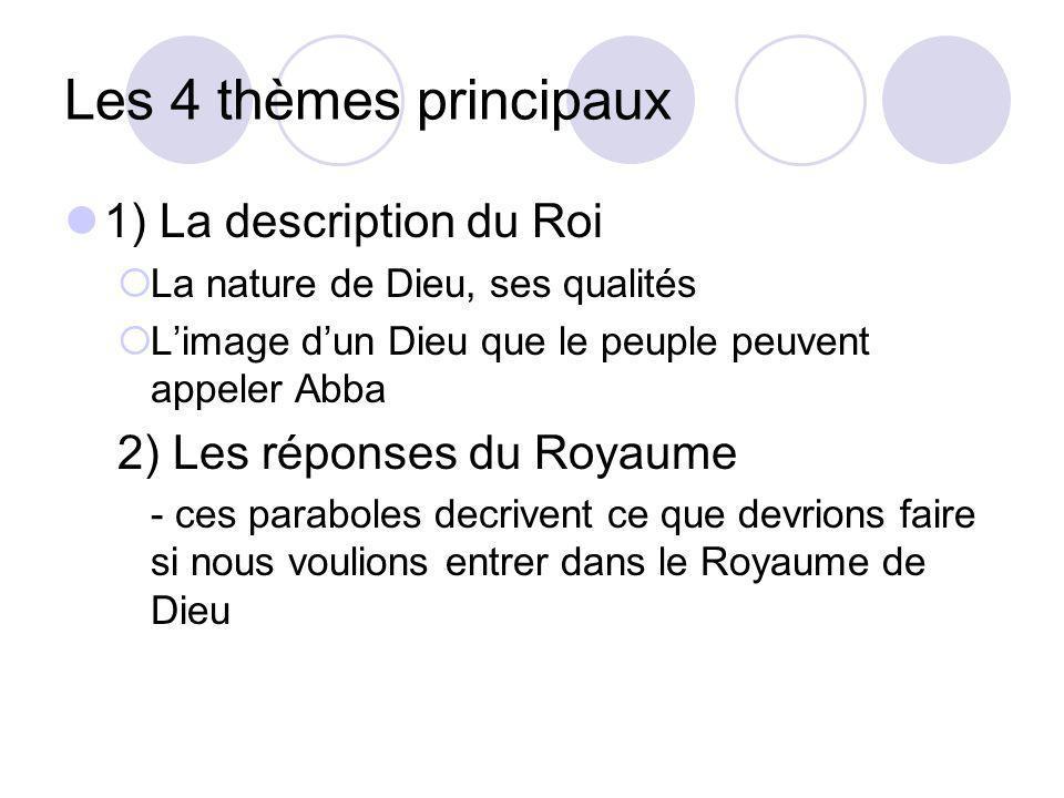 Les 4 thèmes principaux 3) Les relations avec notre prochain Ces paraboles parlent des relations entre les gens 4) Lavènement du Royaume Les paraboles sont toujours reliés au Royaume de Dieu