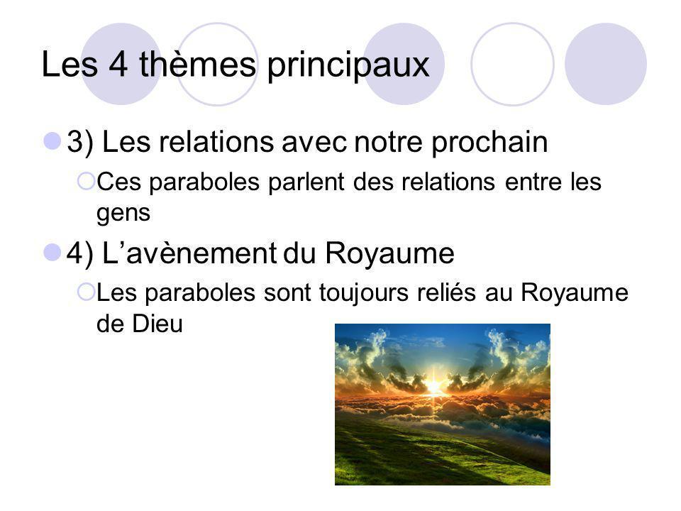 Les 4 thèmes principaux 3) Les relations avec notre prochain Ces paraboles parlent des relations entre les gens 4) Lavènement du Royaume Les paraboles