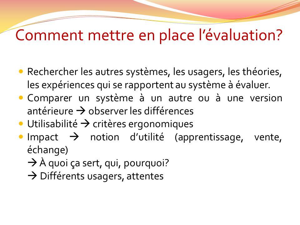 Comment mettre en place lévaluation? Rechercher les autres systèmes, les usagers, les théories, les expériences qui se rapportent au système à évaluer