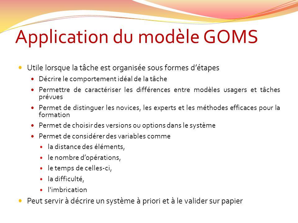 Application du modèle GOMS Utile lorsque la tâche est organisée sous formes détapes Décrire le comportement idéal de la tâche Permettre de caractérise