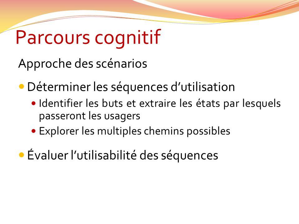 Parcours cognitif Approche des scénarios Déterminer les séquences dutilisation Identifier les buts et extraire les états par lesquels passeront les us