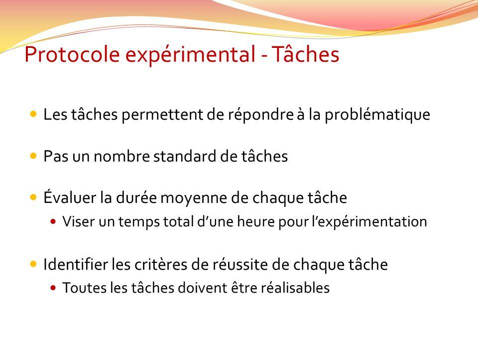Protocole expérimental - Tâches Les tâches permettent de répondre à la problématique Pas un nombre standard de tâches Évaluer la durée moyenne de chaq