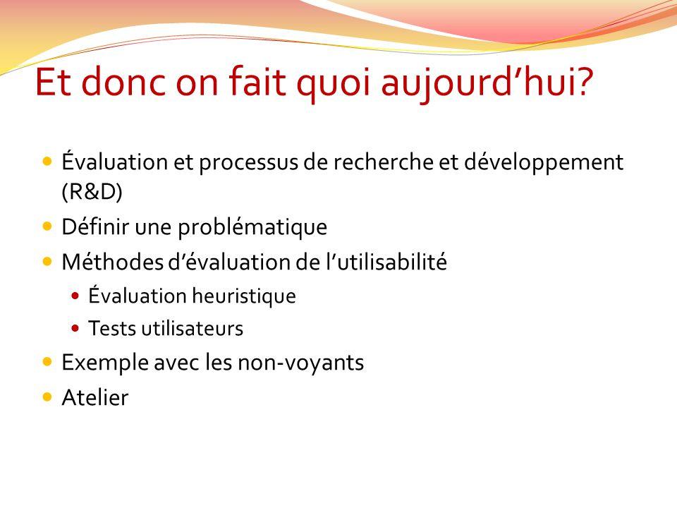 Et donc on fait quoi aujourdhui? Évaluation et processus de recherche et développement (R&D) Définir une problématique Méthodes dévaluation de lutilis
