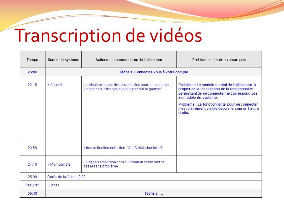 Transcription de vidéos TempsStatus du systèmeActions et commentaires de lutilisateurProblèmes et autres remarques 23:00Tâche 1. Connectez-vous à votr