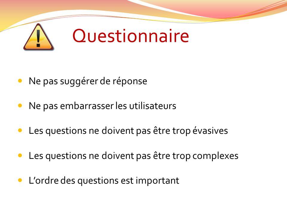 Questionnaire Ne pas suggérer de réponse Ne pas embarrasser les utilisateurs Les questions ne doivent pas être trop évasives Les questions ne doivent