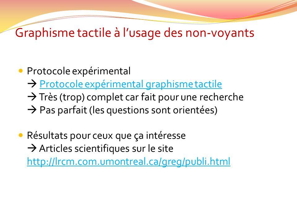 Graphisme tactile à lusage des non-voyants Protocole expérimental Protocole expérimental graphisme tactileProtocole expérimental graphisme tactile Trè