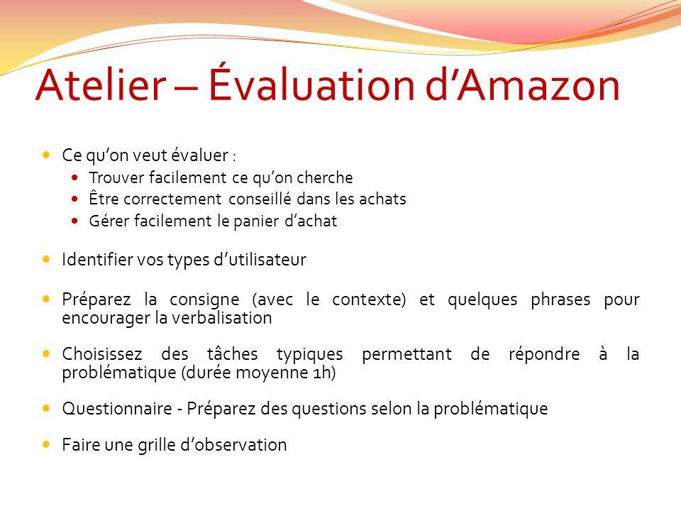 Atelier – Évaluation dAmazon Ce quon veut évaluer : Trouver facilement ce quon cherche Être correctement conseillé dans les achats Gérer facilement le