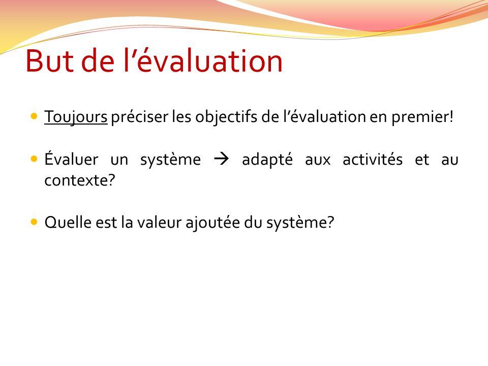 But de lévaluation Toujours préciser les objectifs de lévaluation en premier! Évaluer un système adapté aux activités et au contexte? Quelle est la va