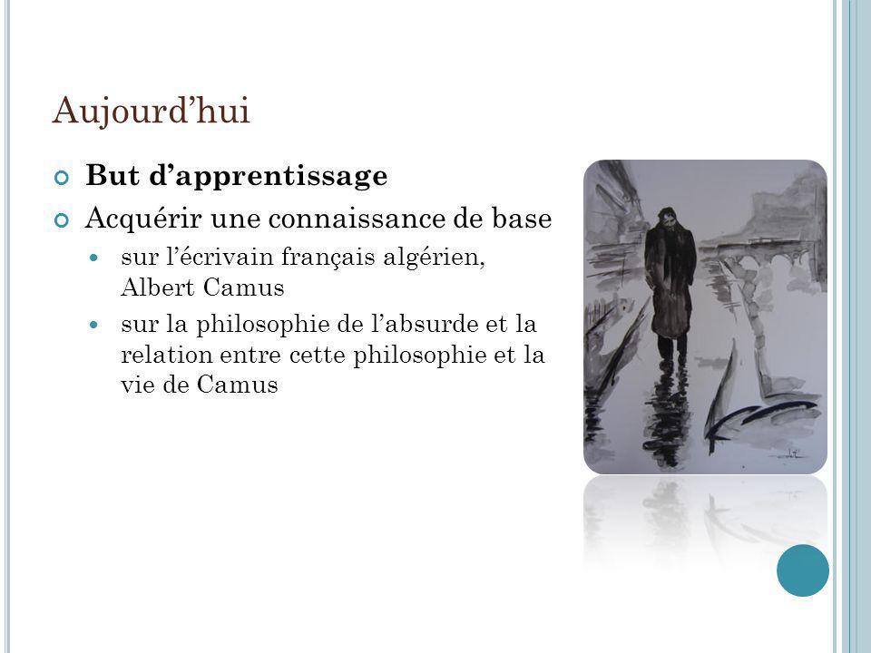 Aujourdhui But dapprentissage Acquérir une connaissance de base sur lécrivain français algérien, Albert Camus sur la philosophie de labsurde et la rel