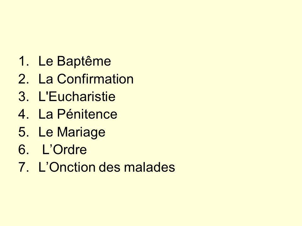 1.Le Baptême 2.La Confirmation 3.L Eucharistie 4.La Pénitence 5.Le Mariage 6.