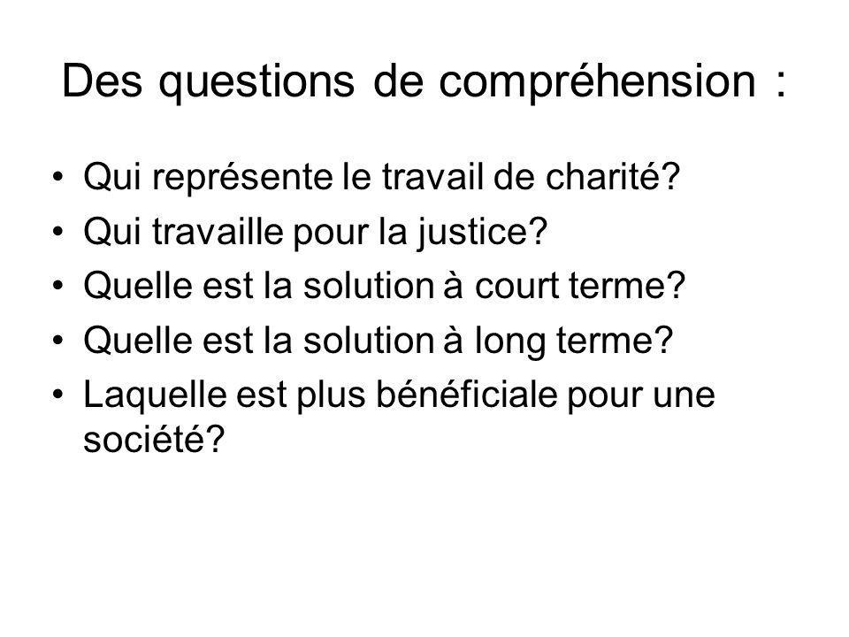 Des questions de compréhension : Qui représente le travail de charité.