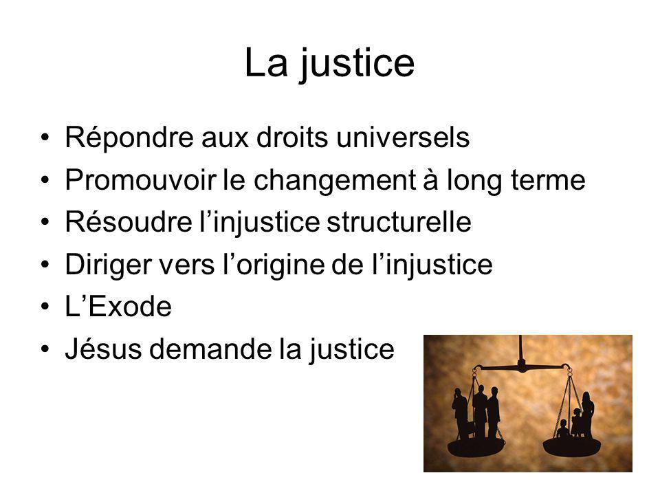 La justice Répondre aux droits universels Promouvoir le changement à long terme Résoudre linjustice structurelle Diriger vers lorigine de linjustice LExode Jésus demande la justice