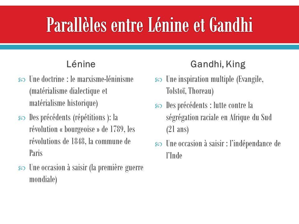 Lénine Une doctrine : le marxisme-léninisme (matérialisme dialectique et matérialisme historique) Des précédents (répétitions ): la révolution « bourg