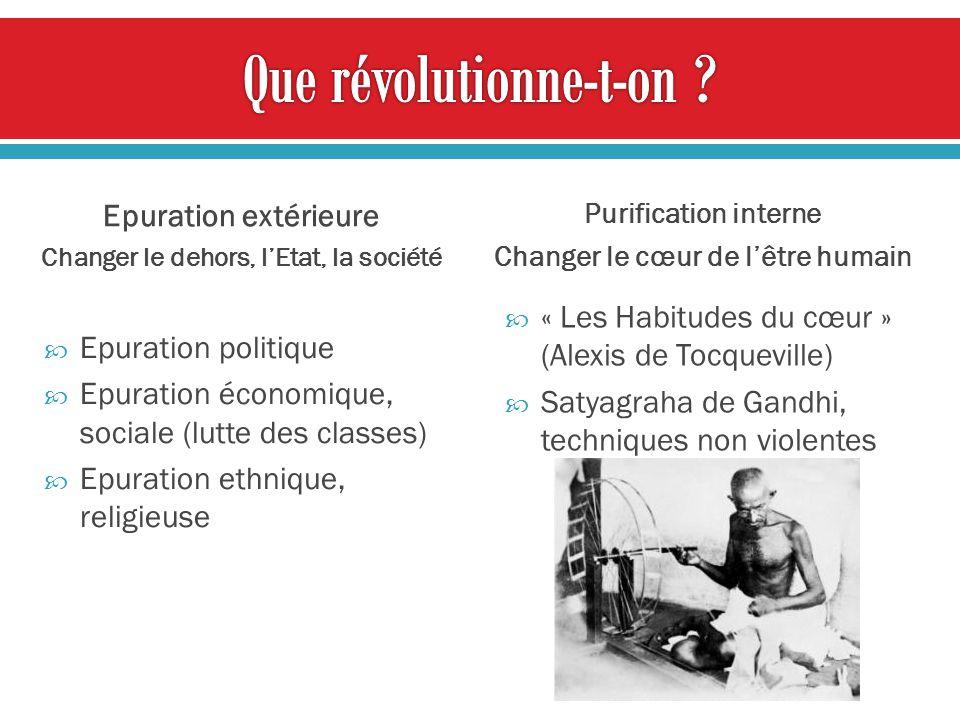 Epuration extérieure Changer le dehors, lEtat, la société Epuration politique Epuration économique, sociale (lutte des classes) Epuration ethnique, re