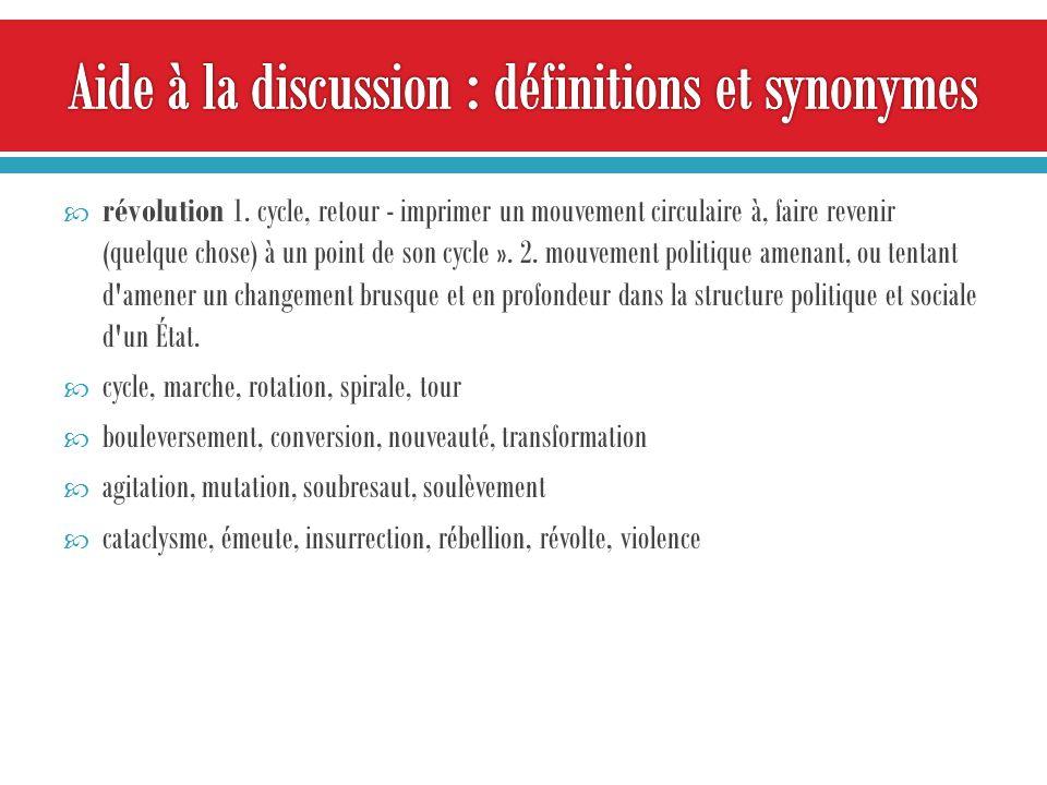 révolution 1. cycle, retour - imprimer un mouvement circulaire à, faire revenir (quelque chose) à un point de son cycle ». 2. mouvement politique amen