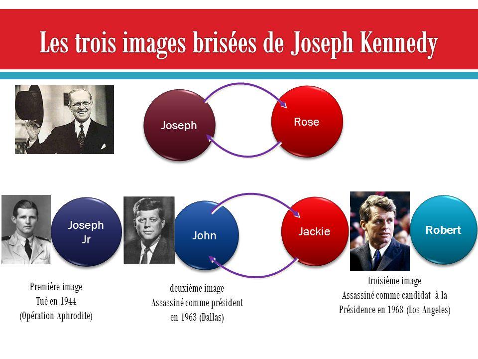 Joseph Joseph Jr Rose John Robert Jackie Première image Tué en 1944 (Opération Aphrodite) deuxième image Assassiné comme président en 1963 (Dallas) troisième image Assassiné comme candidat à la Présidence en 1968 (Los Angeles)